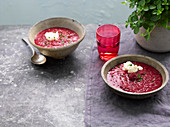 Beetroot and rhubarb soup