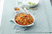 Spaghettoni with oven-roasted date tomatoes