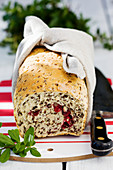 Loaf of bread with lingonberries
