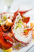 Lobster in white wine with fennel flowers