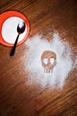 Skull drawn in sugar