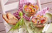Sausage salad for a picnic