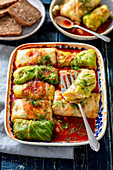 Cabbage stuffed with lentils, feta and potatoes