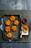 Sweet potato fritters with a chili dip