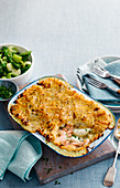 Fish pie with a side of leek and asparagus