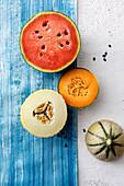 An arrangement of melon halves