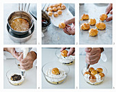 How to make a layered dessert with vanilla cream, champagne cream and caramelised profiteroles