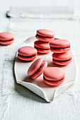 Pink macaroons with raspberry ganache