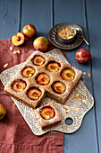 Plum cakes made with buckwheat, coconut and almonds