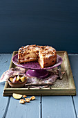 Plum cake with ricotta and walnut crumbles