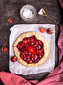Summer galette with strawberries