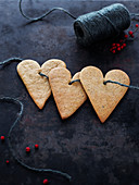 Heart shaped cookies on string