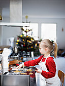 Girl preparing cookies