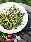 Green asparaguses on plate