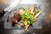 Lamb fillet with carrots and herbs