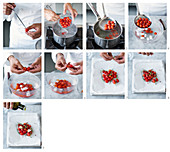 Baked date tomatoes with spices and herbs being made