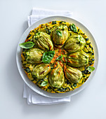 Tortilla with stuffed courgette flowers
