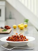Pasta con la nduja (pasta with spicy raw sausage, Italy)