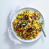 Paella with octopus, mussels and chilli