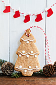 A gingerbread fir tree Christmas tree decoration