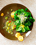 Corn salad with potato vinaigrette