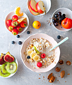 Bircher muesli with fresh fruits and almonds