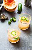 Pink grapefruit juice with jalapenos