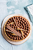 Slice of chocolate and pear tart