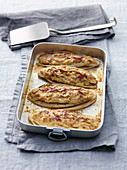 Chicory gratin with mascarpone and onion filling