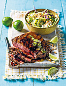 Grilled beef with korean bbq sauce and kiwi coleslaw