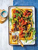 Roasted tomato & brinjal tart