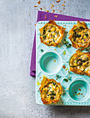 Spinach, spring onion and corn phyllo parcels