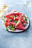 Rum-spiked watermelon slices