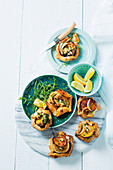 Mini butternut and onion galettes with feta