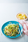 Pasta primavera with baby marrow fettuccine
