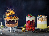 Death by chocolate trifle, Red velvet and champagne trifle and Lemon-vanilla-coconut lamington trifle