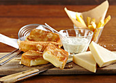 Baked cheese with tartare sauce and french fries (Czech Republic)