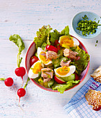 Salad bowl with tuna fish, radishes and boiled eggs