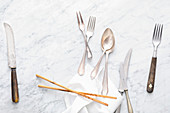 Cutlery, chopstick and napkins