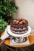 Devils food cake (chocolate cake with berries, USA)