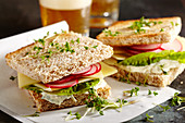 Radish and cheese sandwiches with Gruyere and cress