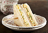 Egg and cress sandwich with mayonnaise, hard-boiled eggs, mustard and cayenne pepper