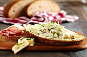 Waldorf salad bread with raw ham