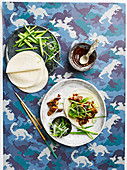 Pancakes with hoisin mackerel and spring onions (Asia)