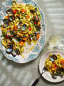 Tagliatelle Vongole with cherry tomatoes
