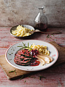 Roast venison with pears, Knöpfle (soft egg noodles from Switzerland) and lingonberries