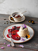 Pumpkin seed parfait with damson compote