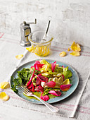 Rose petal salad with wild herbs