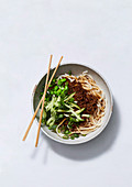 Zhajiang mian - Chinese noodles with meat sauce and cumcumber