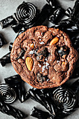 Black liquorice and almond chocolate-chip giant cookies